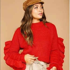VALENTINE'S DAY SALE! NWT ruffle sleeve sweater